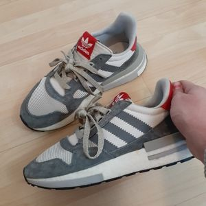 Adidas Grey Red White Cloud Foam Sneakers size 7